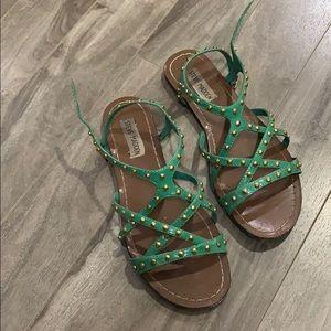 Steve Madden Green Flat Sandals